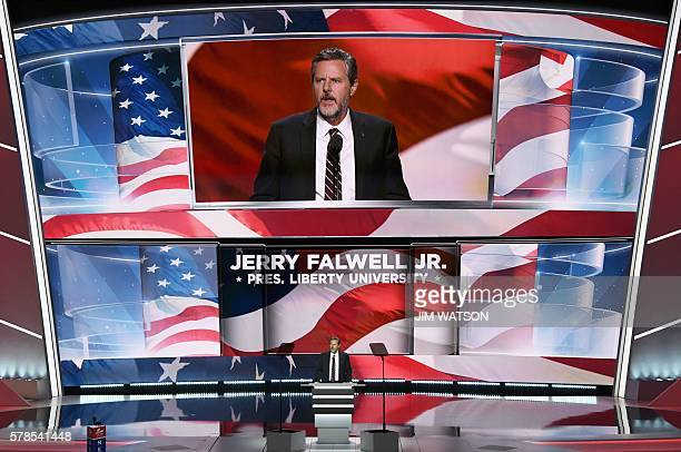 The President of Liberty University Jerry Falwell Jr speaks on the last day of the Republican National Convention on July 21 in Cleveland Ohio / AFP...