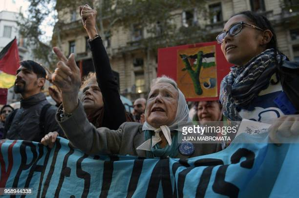 The president of Madres de Plaza de Mayo Linea Fundadora Nora Cortinas Protestors shouts slogans during a protest against the killing of 60...