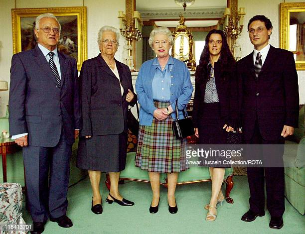 The President of Malta Dr Edward FenechAdami and his wife Mary stand with Britain's Queen Elizabeth II and the daughter of the President Mrs Maria...