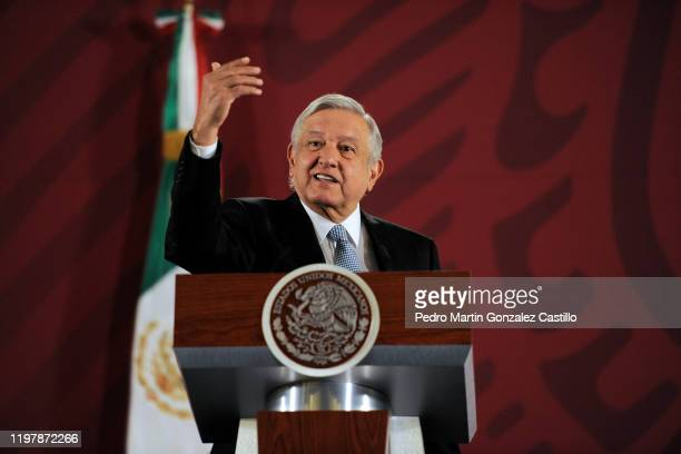 The president of Mexico Andrés Manuel López Obrador speaks during the daily morning press conference at the National Palace on January 6 2020 in...