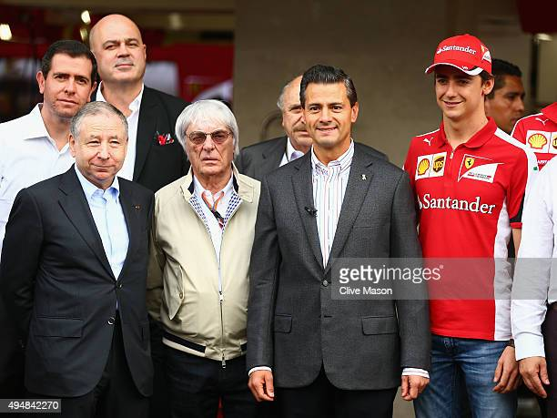 The President of Mexico Enrique Pena Nieto poses with F1 supremo Bernie Ecclestone President of the FIA Jean Todt and Esteban Gutierrez of Mexico and...