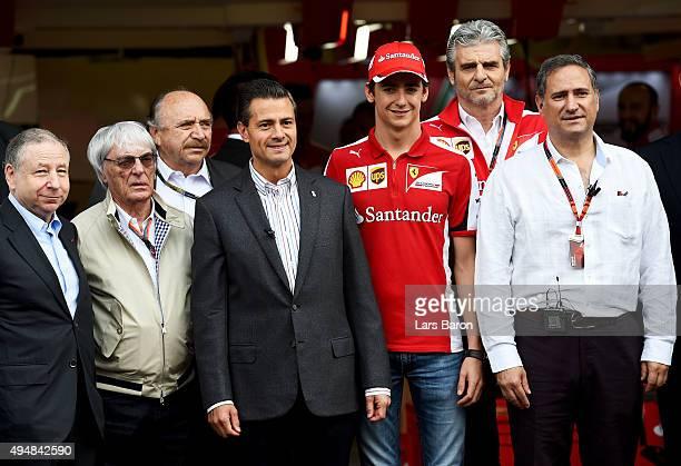 The President of Mexico Enrique Pena Nieto poses with F1 supremo Bernie Ecclestone President of the FIA Jean Todt Ferrari Team Principal Maurizio...