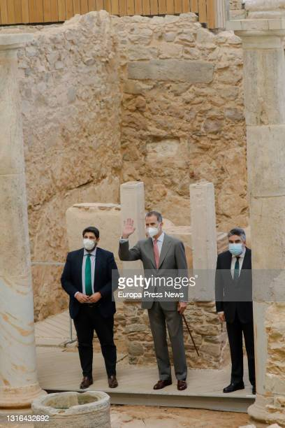The President of Murcia, Fernando Lopez Miras, King Felipe VI and the Minister of Culture and Sport, Jose Manuel Rodriguez Uribes during his visit to...