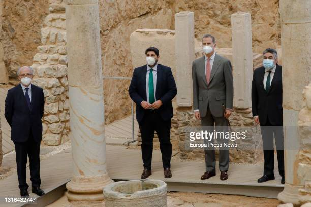The President of Murcia, Fernando Lopez Miras , King Felipe VI and the Minister of Culture and Sport, Jose Manuel Rodriguez Uribes during their visit...