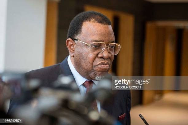 The President of Namibia Hage Geingob, talks to members of the media following the death of the former Zimbabwean president, on the final day of the...