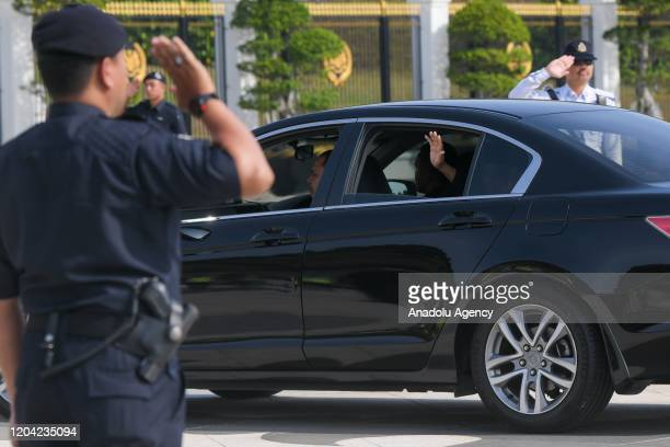 The President of Parti Pribumi Bersatu Malaysia Tan Sri Muhyiddin Yassin arrives at the Royal Palace for the official sworn in by Yang diPertuan...