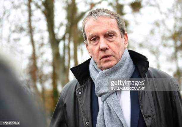 The President of Poitiers's University Yves Jean gives a press conference on November 24 2017 during the inauguration of a giant sculpture entitled...