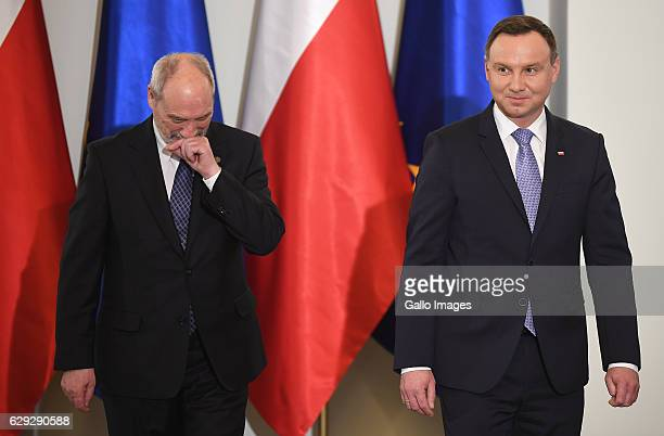 The President of Poland Andrzej Duda and the Minister of National Defence Antoni Maciarewicz attend the ceremony of posthumously awarding of a...