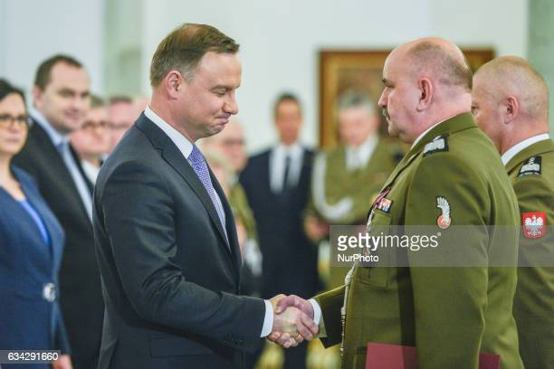 The President of Poland Andrzej Duda appointed the new Commander of the Armed Forces General Jaroslaw Mice during an Official Ceremony in the...