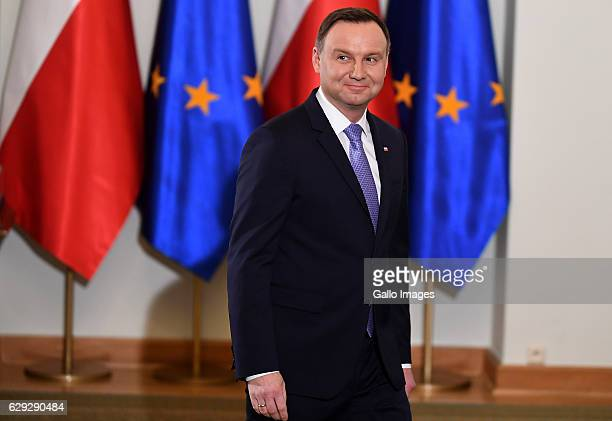 The President of Poland Andrzej Duda attends the ceremony of posthumously awarding of a generals nomination to Jan Karski on December 07 2016 in...