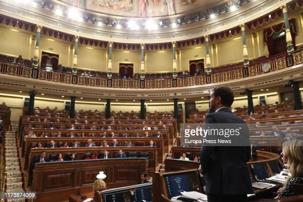 The president of PP Pablo Casado is seen asking some questions to the acting president of the Government Pedro Sánchez during the Plenary Session at...