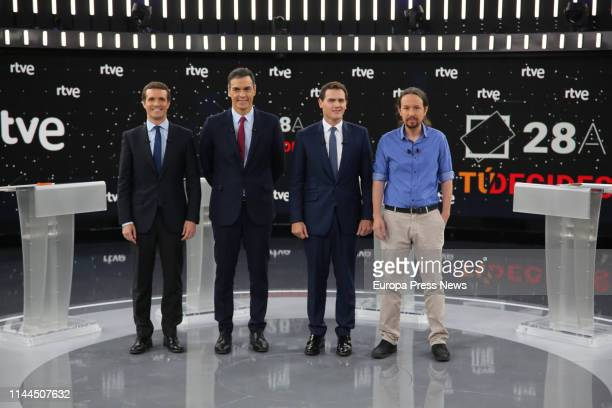 The president of PP Pablo Casado the president of the Government Pedro Sanchez the president of Ciudadanos Albert Rivera and the secretary general of...