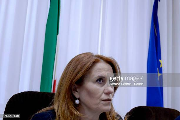 The president of RAI Monica Maggioni during a Parliamentary Supervisory Board hearing on April 19 2017 in Rome Italy