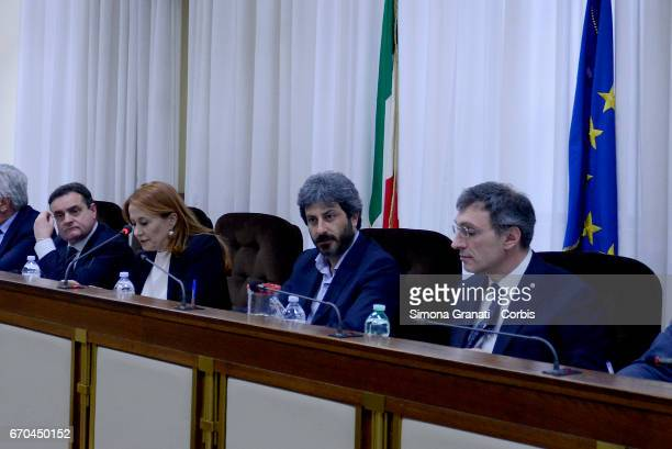 The president of RAI Monica Maggioni with President of the Parliamentary Committee of audiovisual services supervision Roberto Fico during a...