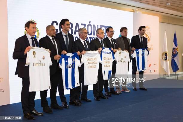 The president of Real Madrid Florentino Perez and the former players Emilio Butragueño Roberto Carlos Alvaro Arbeloa Rafael Martín Vázquez Santiago...