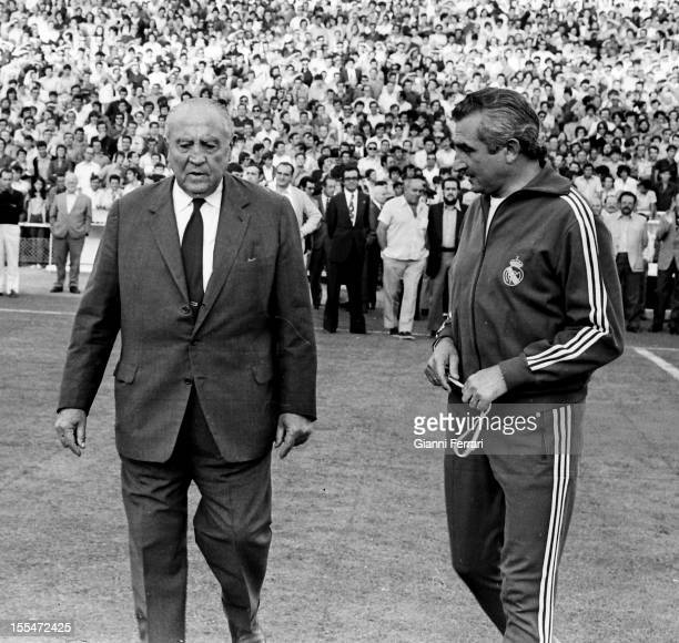 The president of Real Madrid Santiago Bernabeu and the coach Miguel Munoz in the stadium 'Santiago Bernabeu' Madrid Castilla La Mancha Spain