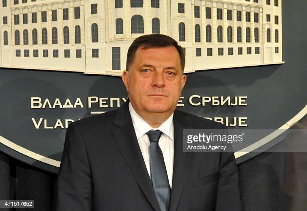 The president of Republika Srpska entity in Bosnia and Herzegovina, Milorad Dodik and Serbian President Tomislav Nikolic attend a press conference...