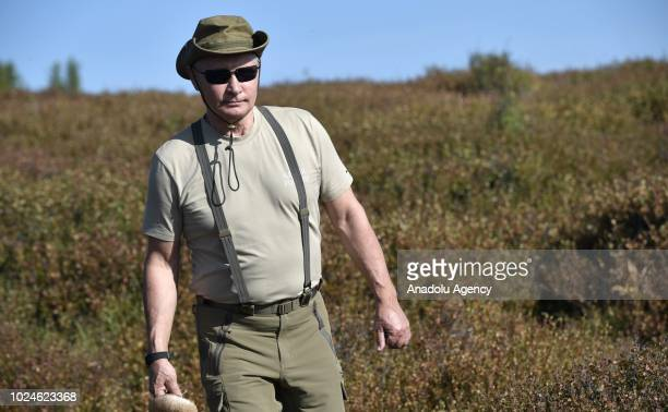 The President of Russia, Vladimir Putin, in Sayano-Shushensky Nature Reserve in the West Sayan Mountains in Tyva Republic, south Siberia Russia on...