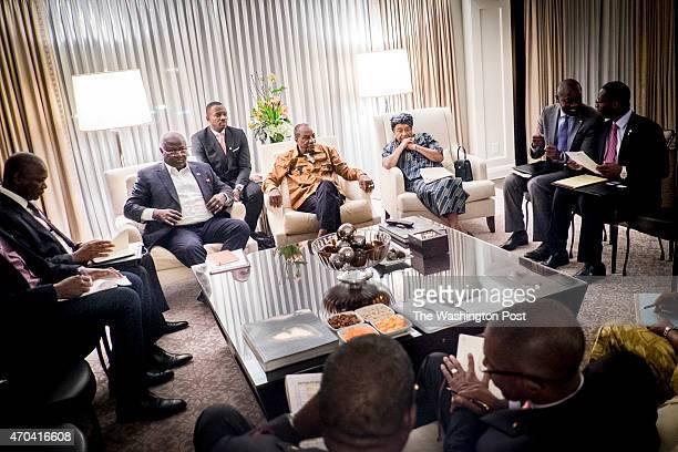 The President of Sierra Leone Ernest Bai Koroma the President of Guinea Alpha Condé and the President of Liberia Ellen Johnson Sirleaf prepare for a...