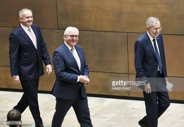 The President of Slovakia Andrej Kiska German President FrankWalter Steinmeier and Austrian President Alexander Van der Bellen arrive to attend a...