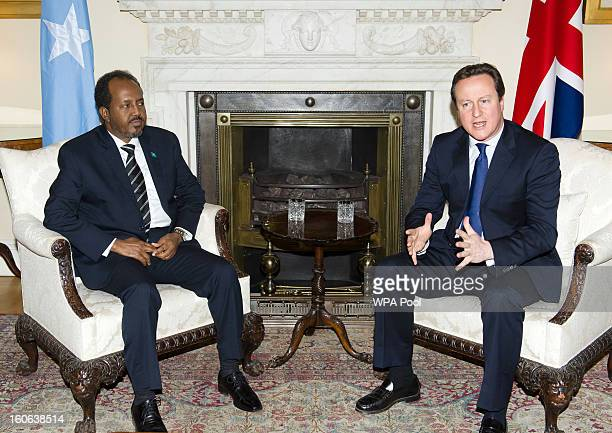 The President Of Somalia Hassan Sheikh Mohamud meets with British Prime Minister David Cameron at 10 Downing Street on February 4 2013 in London...