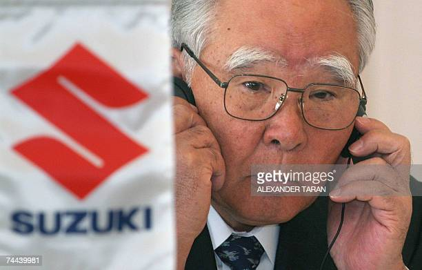 The president of Suzuki Motor Corporation Osamu Suzuki attends a news conference after a signing ceremony in StPetersburg 08 June 2007 Japanese auto...
