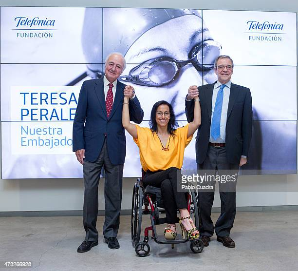 The President of Telefonica and Teresa Perales attend a press conference as she is announced as the new Fundacion Telefonica ambassador on May 14...