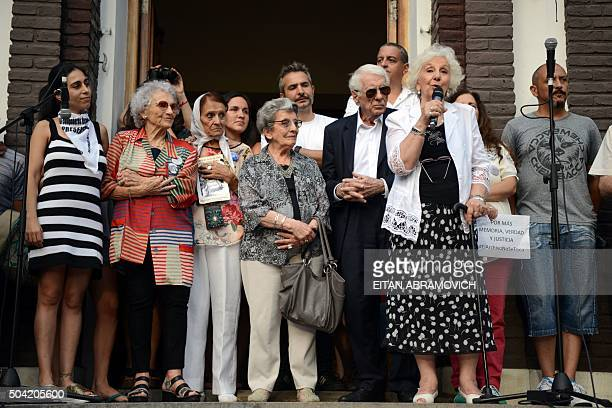 The president of the Abuelas de Plaza de Mayo Human Rights association, Estela de Carlotto , speaks as she leads a demo with Human Rights...