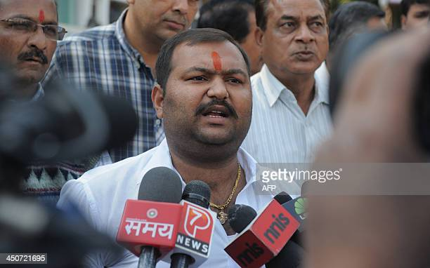 The President of the Ahmedabad Bajrangdal Jwalit Mehta speaks to media during a protest ahead of a scheduled performance by Pakistani singer Atif...