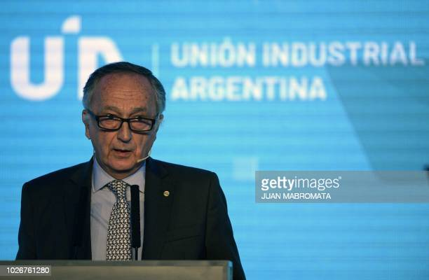 The president of the Argentine Industrial Union Miguel Acevedo delivers a speech during the UIA's 24th annual meeting in Buenos Aires on September 4...