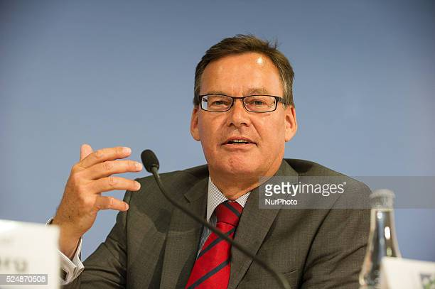 The President of the Association of German Housing and Real Estate Companies Axel Gedaschko speaks during the press conference of the Alliance...