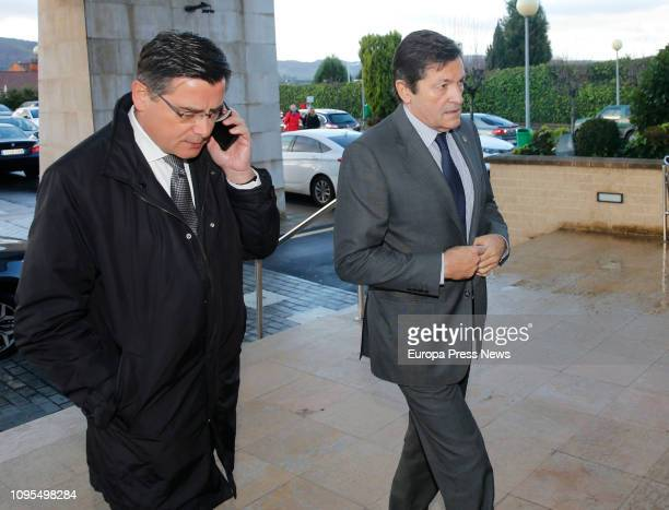 The president of the Asturian Regional Parliament Pedro Sanjurjo and the President of Asturias are seen arriving to give the last goodbye to the...