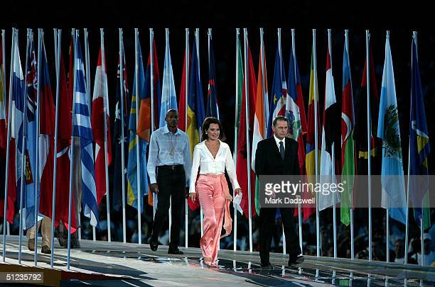 The President of the Athens Organizing Committee Gianna Angelopoulos-Daskalaki and International Olympic Committee President Dr Jacques Rogge attend...