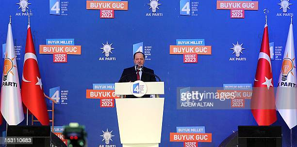 The president of the autonomous Kurdistan region Massud Barzani delivers a speech during a congress of Turkey's ruling Justice and Development Party...