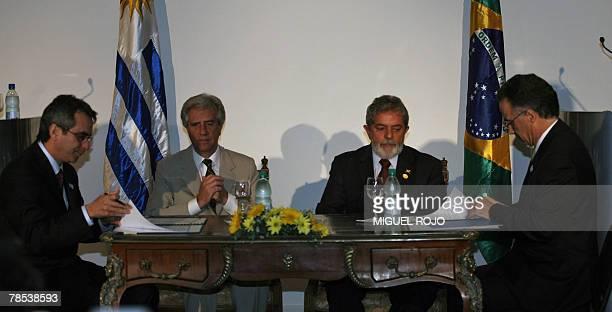 The president of the Banco do Brasil Francisco de Lima Neto Uruguay's president Tabare Vazquez Brazil's Luiz Inacio Lula Da Silva and the president...