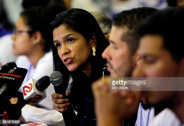 The president of the Board of Directors of the American Chamber of Commerce of Nicaragua Maria Nelly Rivas speaks during a press conference after the...