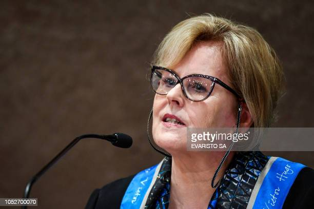 The president of the Brazilian High Electoral Court Judge Rosa Weber delivers a press conference in Brasilia on October 21 to announce measures to...