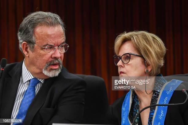 The president of the Brazilian High Electoral Court Judge Rosa Weber and Brazilian Minister of Public Security Raul Jungmann deliver a press...