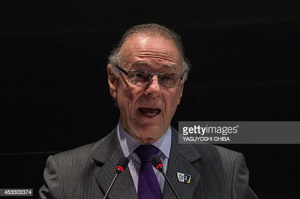 The President of the Brazilian Olympic Committee Carlos Nuzman makes his speach during World Media Briefing for the Rio 2016 Olympic and Paralympic...