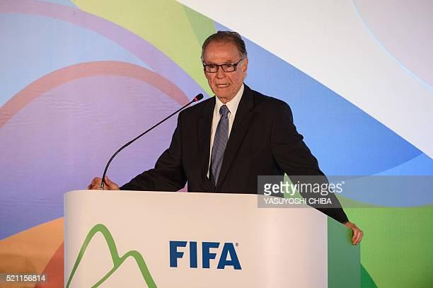 The President of the Brazilian Olympic Committee Carlos Nuzman speaks after the draw of the Rio 2016 Olympic football tournament at Maracana stadium...