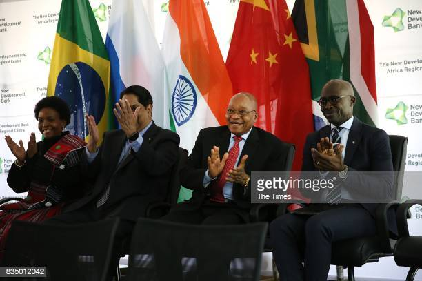 The president of the Brics New Development Bank KV Kamath is seen with President Jacob Zuma Malusi Gigaba and Maite NkoanaMashabane during the launch...