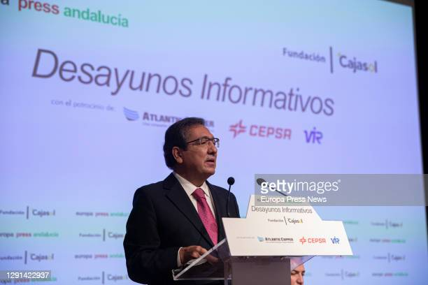 The president of the Cajasol Foundation, Antonio Pulido during his speech in the informative breakfasts of Europa Press Andalucia on December 15,...