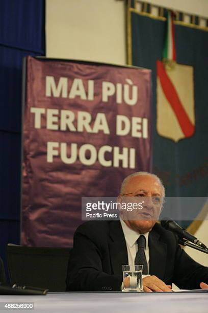 The President of the Campania Region Vincenzo De Luca gestures during a press conference at the hall of the palace Santa Lucia with the theme Mai più...