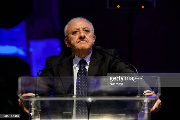 The President of the Campania Region Vincenzo De Luca into newton room for conference in Naples Italy on March 4 2017 The Museum is the first...