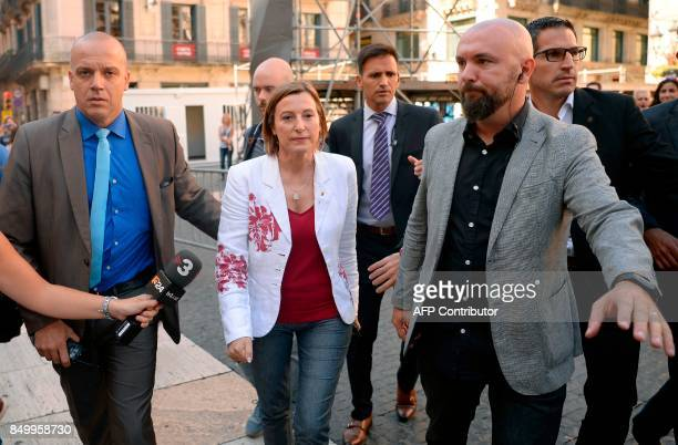 The President of the Catalan parliament Carme Forcadell leaves the headquarters of the Catalan regional government Generalitat in Barcelona on...