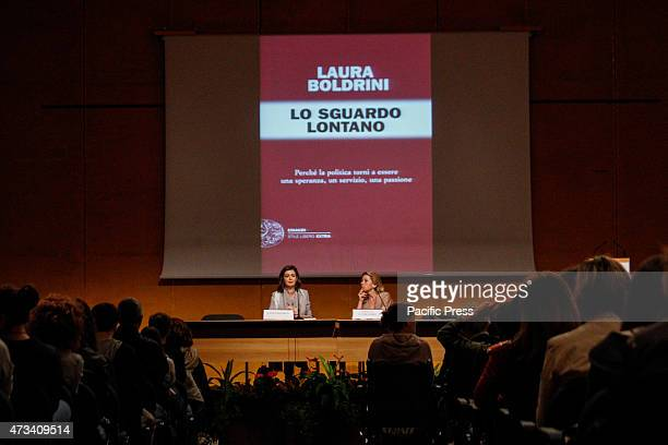The president of the Chamber of Deputies Laura Boldrini has presented her book Lo sguardo lontano at the 28th International Book Fair In photo with...