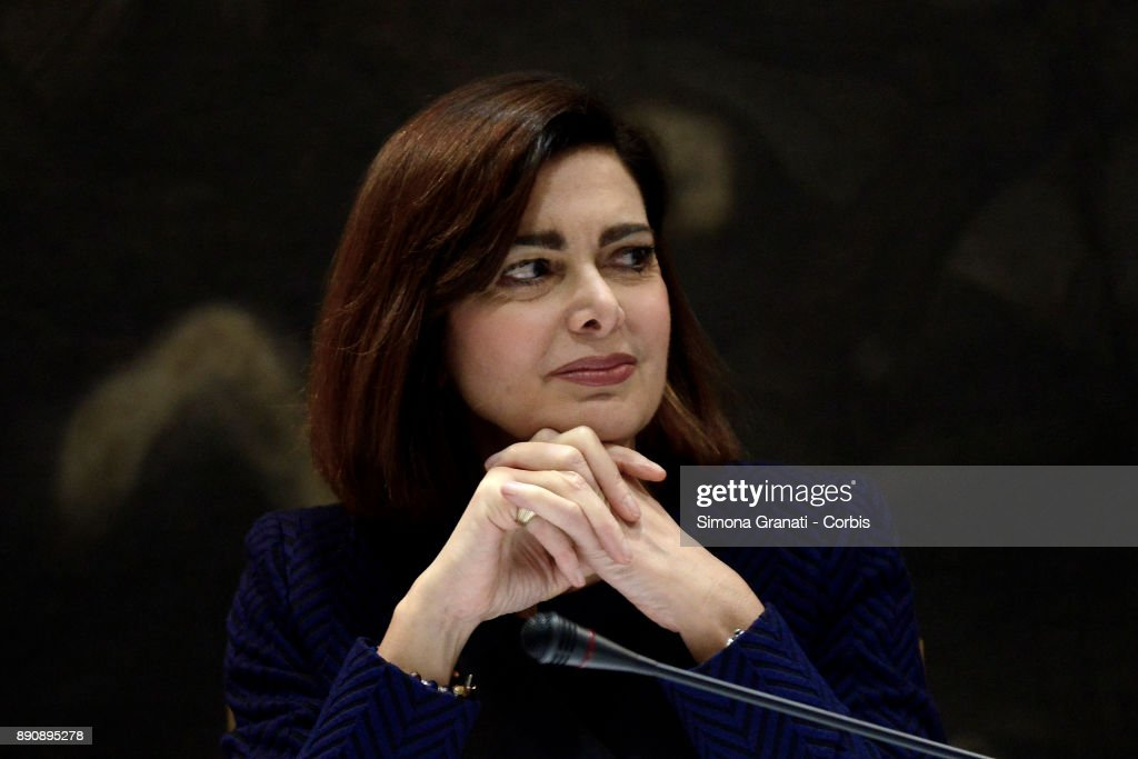 The President of the Chamber of Deputies, Laura Boldrini, meets the parliamentary press for the traditional message of greeting for the Christmas holidays, on December 12, 2017 in Rome, Italy.