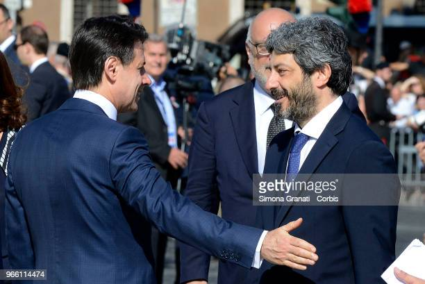The President of the Chamber of Deputies Roberto Fico and Italian Premier Giuseppe Conte attend the ceremony for the anniversary of the Italian...