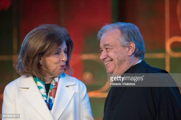 The President of the Champalimaud Foundation Leonor Beleza accompanies UN Secretary General Antonio Guterres at Universidade de Lisboa during the...