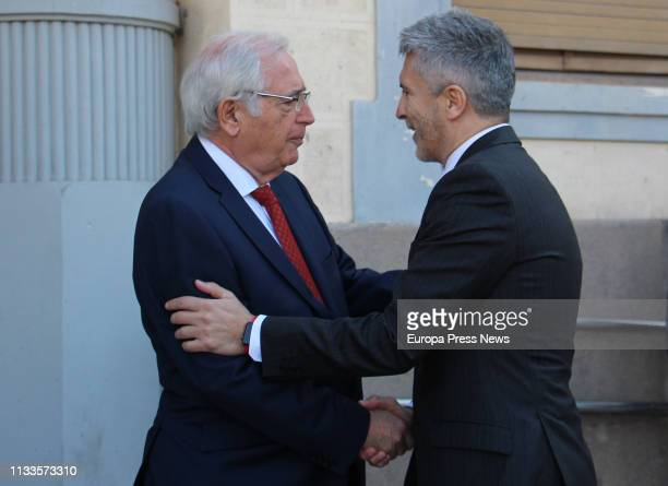 The president of the city of Melilla Juan José Imbroda meets the Internal Affairs minister Fernando GrandeMarlaska during a visit along the border...